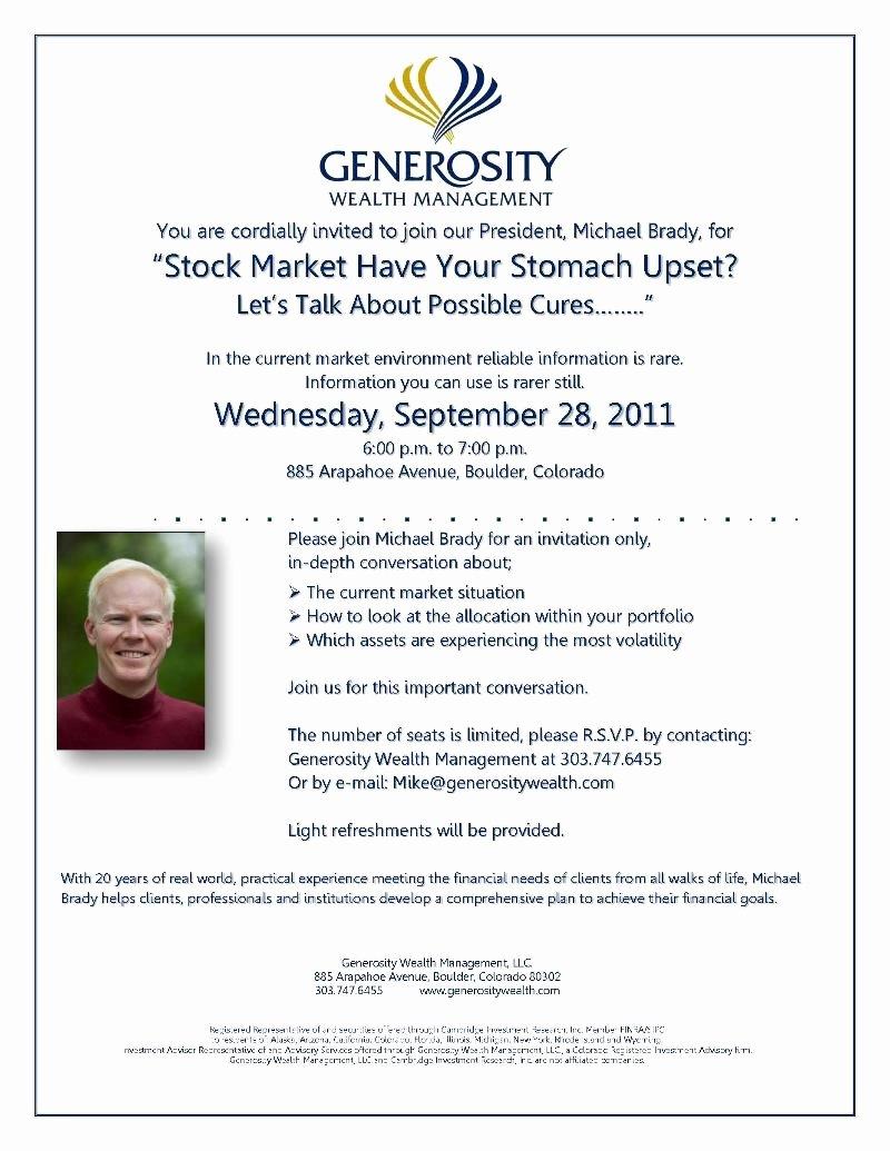 Seminar Invitation Templates Elegant Generosity Wealth Seminar Generosity Wealth Management