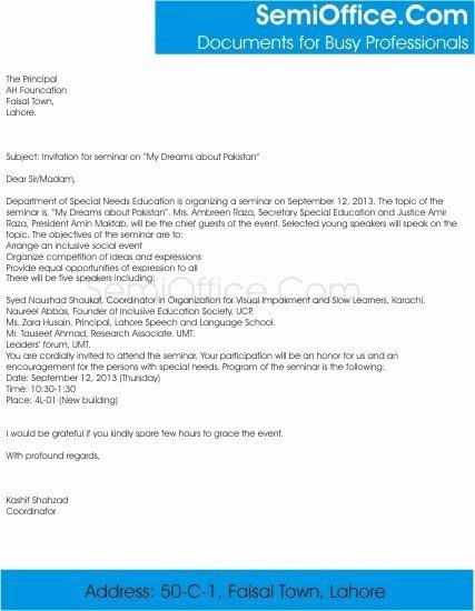 Seminar Invitation Templates Elegant Invitation Letter for Seminar Participants