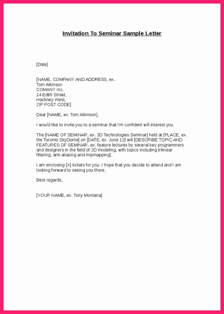 Seminar Invitation Templates Fresh Seminar Invitation Letter Sample Pdf Janetward