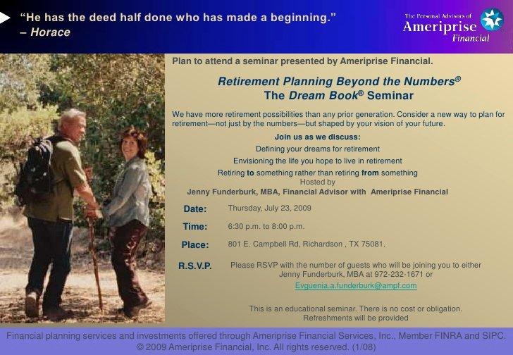 Seminar Invitation Templates New Retirement Seminar Invitation