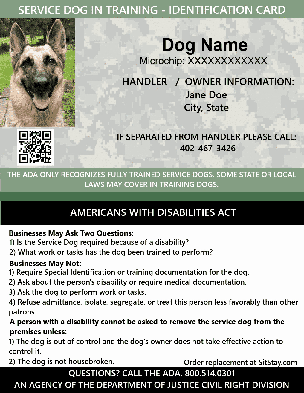 Service Dog Id Card Template Free Download Awesome Id Card Service Dog In Training