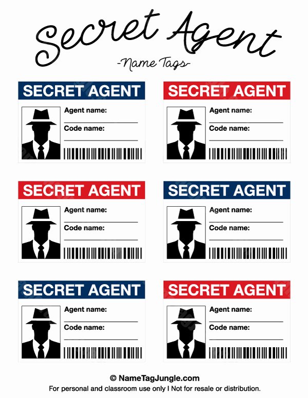 Service Dog Id Card Template Free Download Best Of Free Printable Secret Agent Name Tags these Would Be