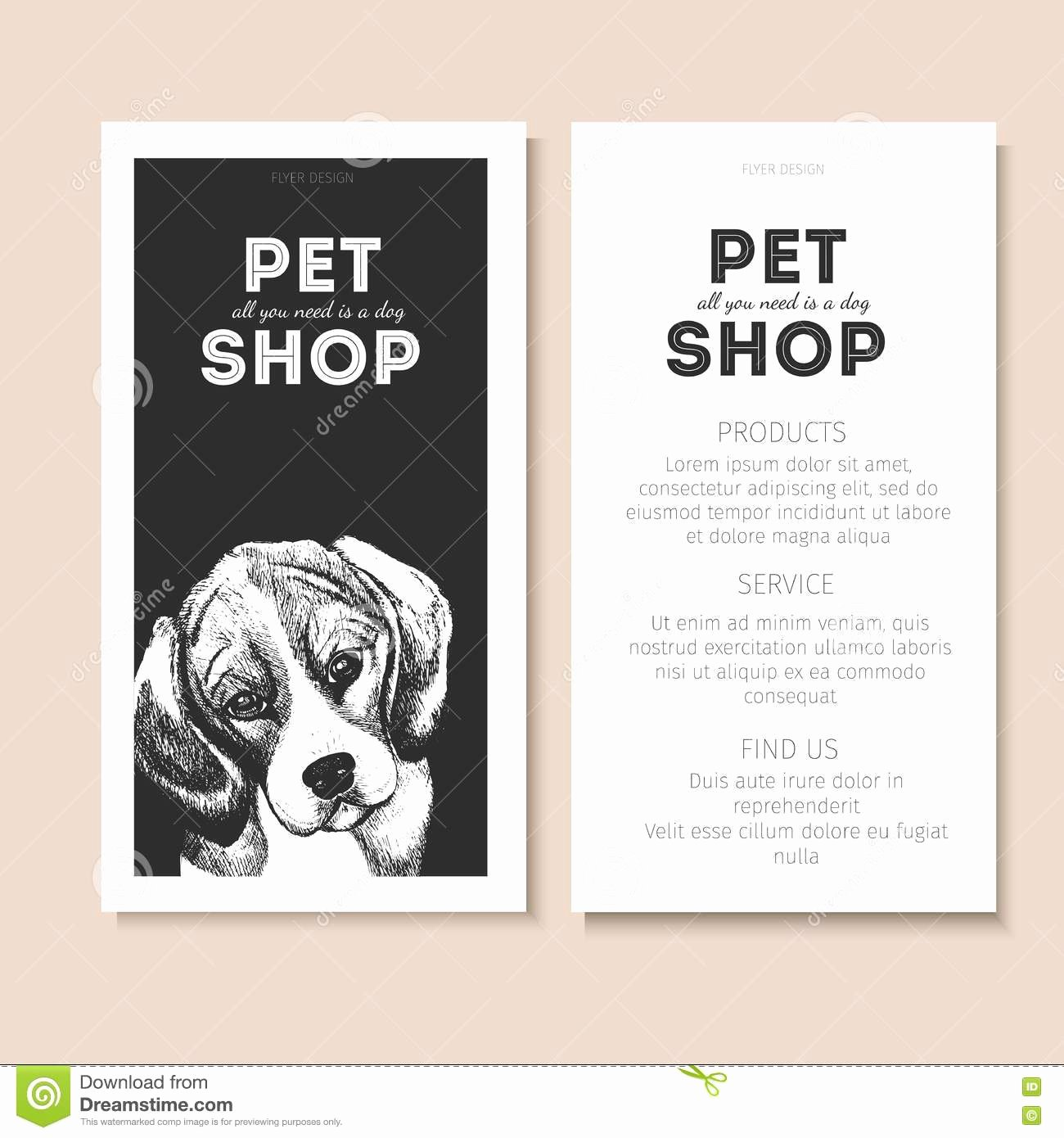 Service Dog Id Card Template Free Download Best Of Vector Set Pet Shop Flyers Dog Portrait Black