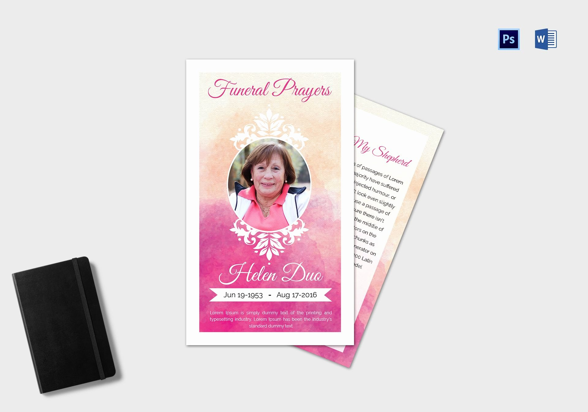 Service Dog Id Card Template Free Download Inspirational Funeral Prayer Card Template for Grandmother In Adobe