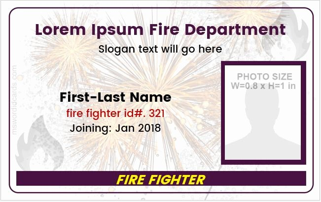 Service Dog Id Card Template Free Download New Fire Department Employees Id Cards