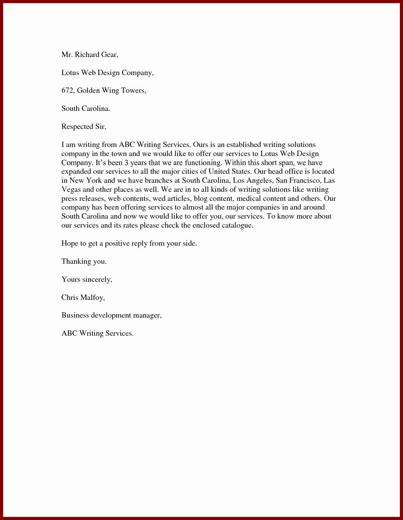 Service Offering Letter Beautiful Best Ideas Sample Fer Letter for Business Development