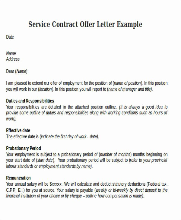 Service Offering Letter Unique Contract Fer Letter Templates 9 Free Word Pdf format