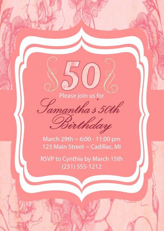 Shabby Chic Birthday Invitations Awesome Items Similar to 50th Birthday Invitation Adult Party