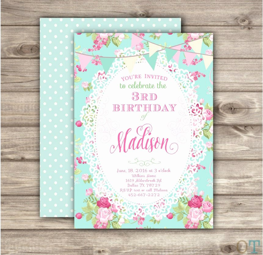 Shabby Chic Birthday Invitations Awesome Shabby Chic Birthday Invitations Third Birthday Summer Outdoor