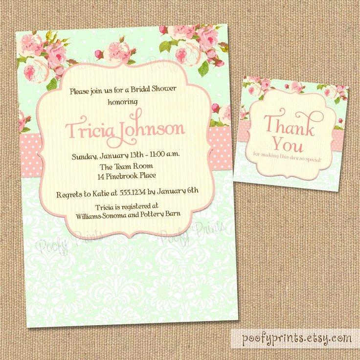 Shabby Chic Birthday Invitations Awesome Shabby Chic Wedding Shower Invitations