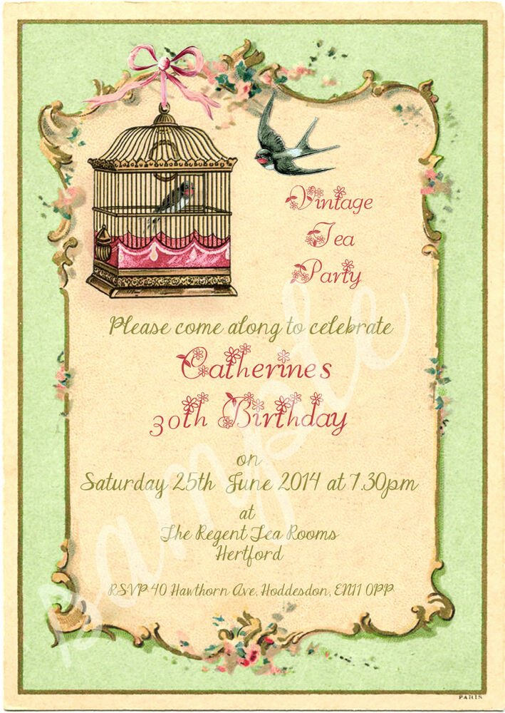 Shabby Chic Birthday Invitations Beautiful Any Age Shabby Chic Vintage Tea Party Birdcage Birthday