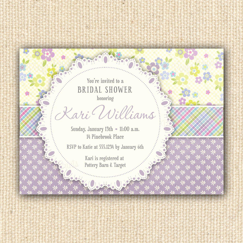 Shabby Chic Birthday Invitations Beautiful Diy Printable Invitation Purple Floral Shabby Chic Bridal