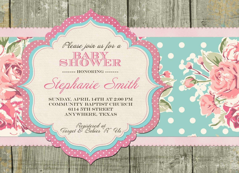 Shabby Chic Birthday Invitations Beautiful Shabby Chic Baby Shower Invitation by Sayitlouddesigns On Etsy