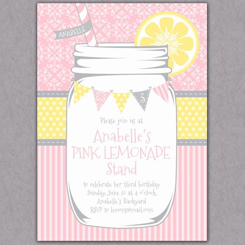 Shabby Chic Birthday Invitations Beautiful Shabby Chic Mason Jar Lemonade Party Invitation Printable