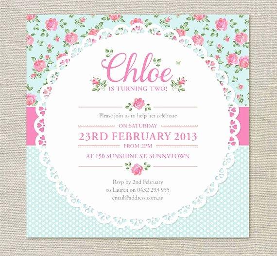 Shabby Chic Birthday Invitations Best Of Shabby Chic Birthday Invitations Printable