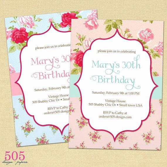 Shabby Chic Birthday Invitations Best Of Shabby Chic Invitations
