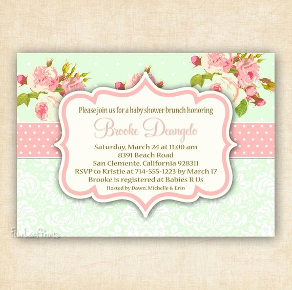 Shabby Chic Birthday Invitations Elegant Items Similar to Green and Pink Shabby Chic Floral and