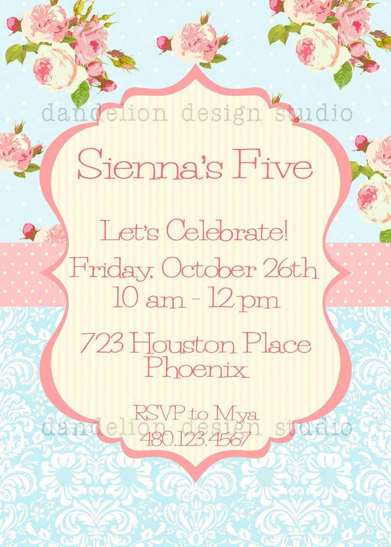 Shabby Chic Birthday Invitations Fresh Printable Custom Invitation Blue Shabby Chic Party