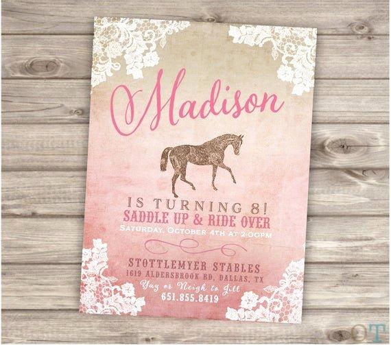 Shabby Chic Birthday Invitations Fresh Printable Rustic Lace Horse Birthday Invitations Shabby Chic