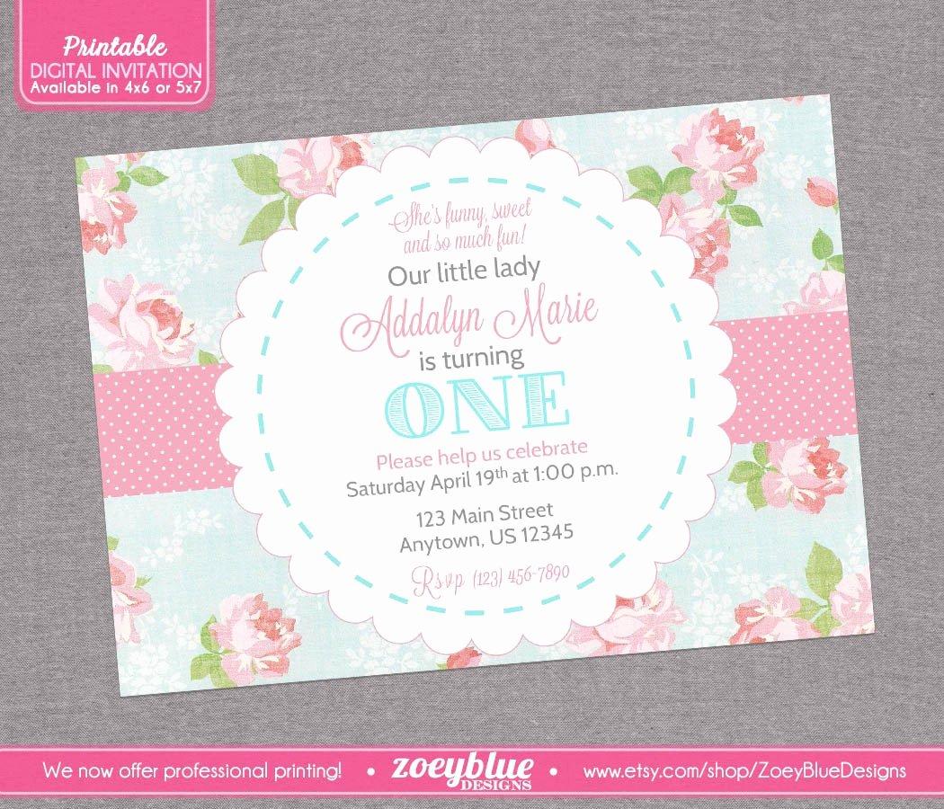 Shabby Chic Birthday Invitations Fresh Shabby Chic Birthday Invitation Vintage Floral by