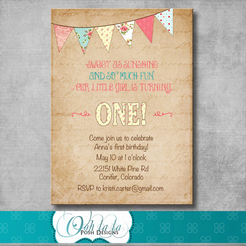Shabby Chic Birthday Invitations Fresh Shabby Chic First Birthday Invitation Digital File