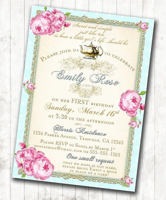 Shabby Chic Birthday Invitations Fresh Spring Tea Poster Google Search