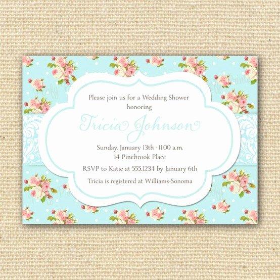 Shabby Chic Birthday Invitations Lovely Shabby Chic Bridal Shower Invitation by Poofyprints Etsy