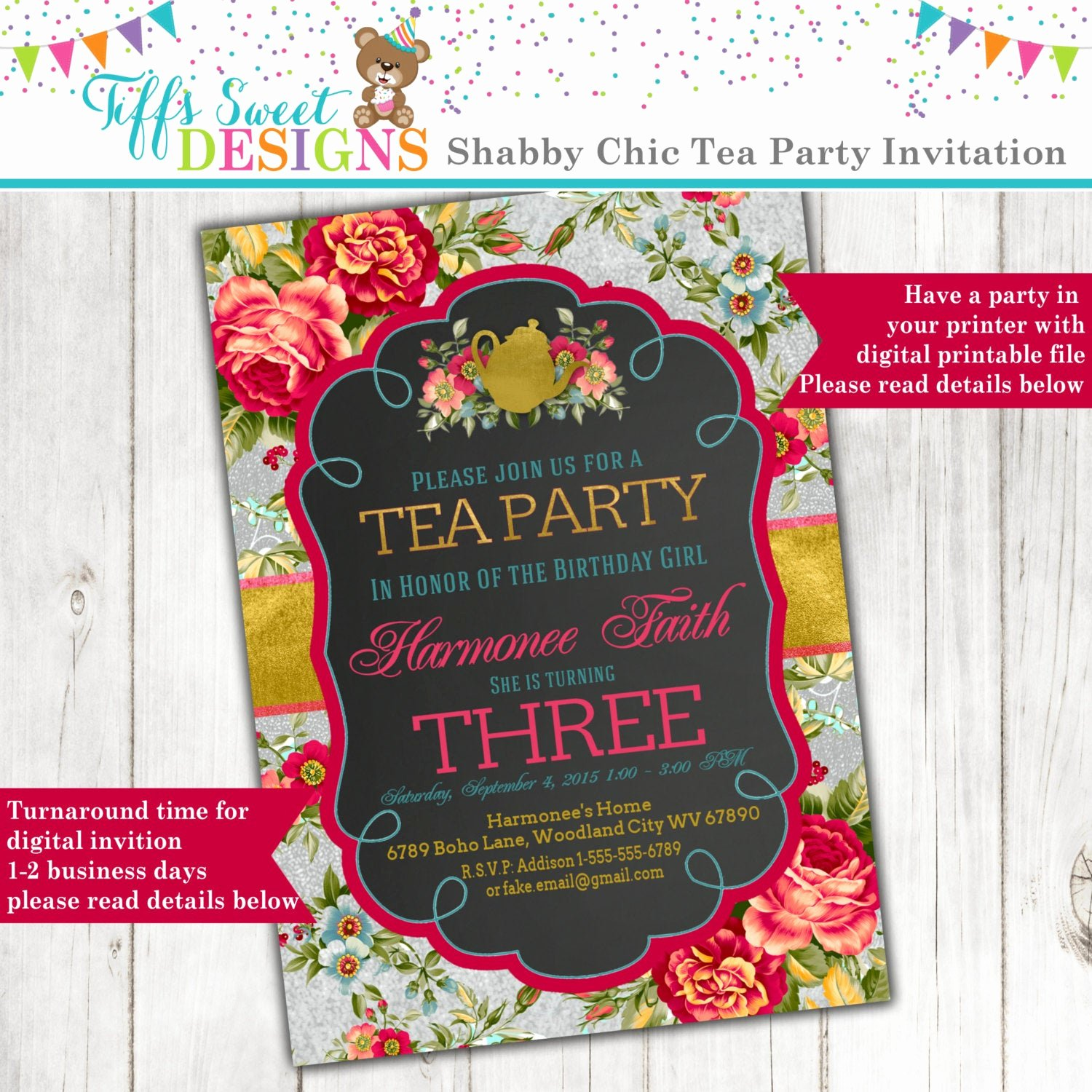Shabby Chic Birthday Invitations Lovely Shabby Chic Tea Party Invitation with Roses and A Silver