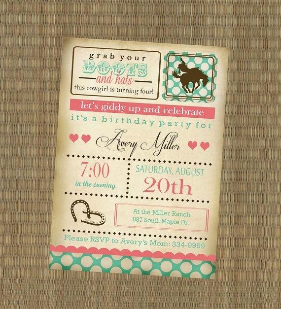 Shabby Chic Birthday Invitations Luxury Cowgirl Birthday Party Invitation Vintage Horse Girl S