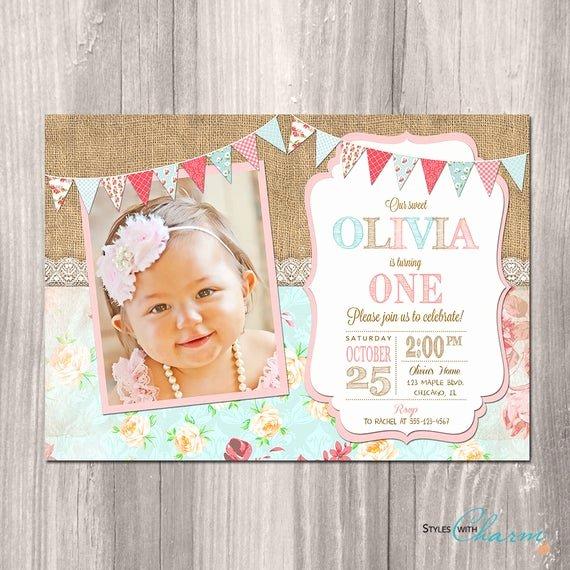 Shabby Chic Birthday Invitations Luxury Shabby Chic Birthday Invitation Girl First Birthday