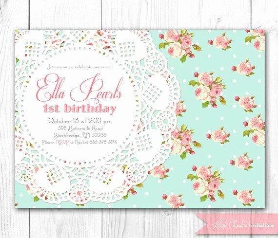 Shabby Chic Birthday Invitations Luxury Shabby Chic Invitation Vintage Pearls & Lace Invitation