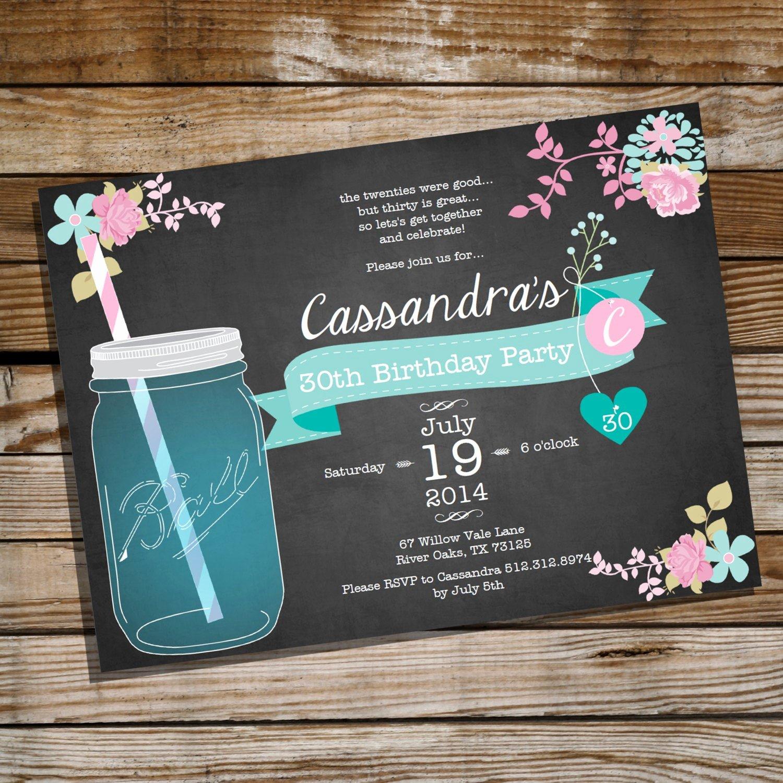 Shabby Chic Birthday Invitations Luxury Shabby Chic Mason Jar Birthday Invitation 30th 40th 50th