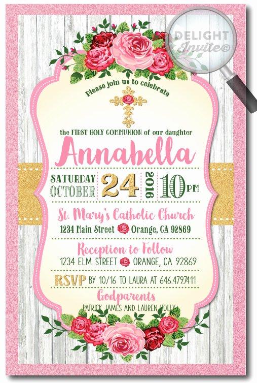 Shabby Chic Birthday Invitations Luxury Vintage Shabby Chic Munion Invitation for Girls [di 719