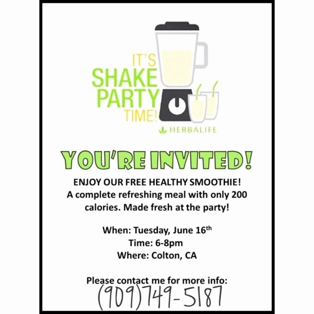 Shake Party Herbalife Elegant Herbalife Shake Party Invitation