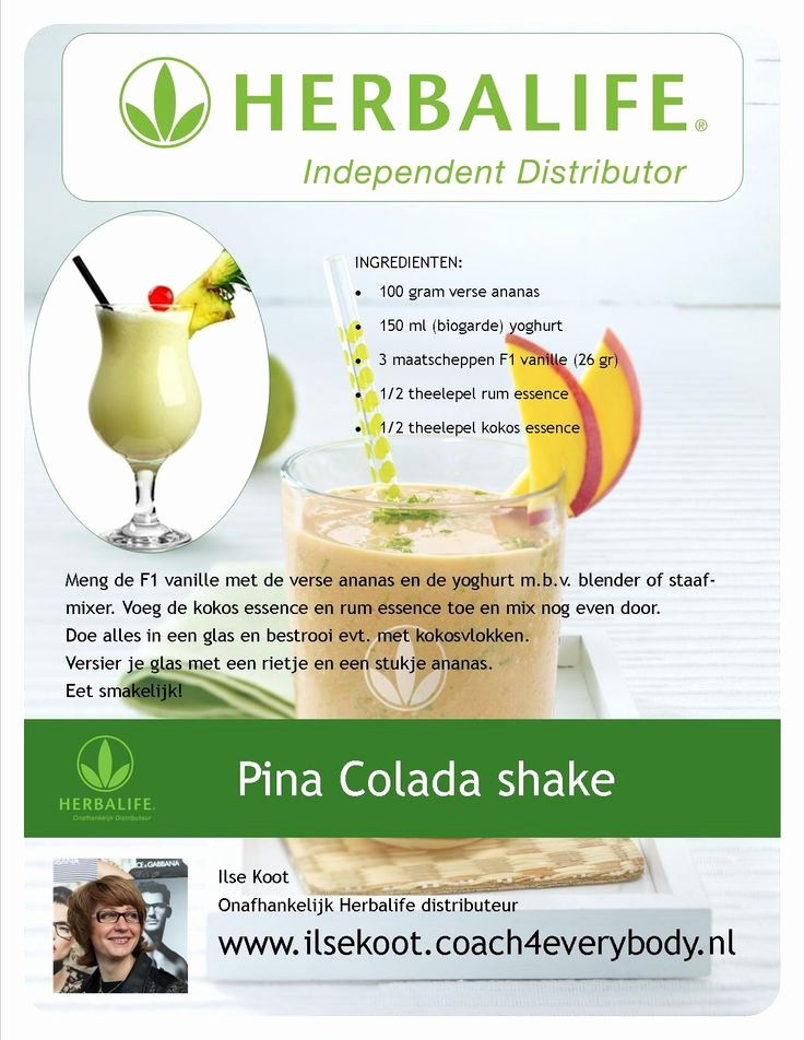 Shake Party Herbalife Luxury Pina Colada Shake Herbalife