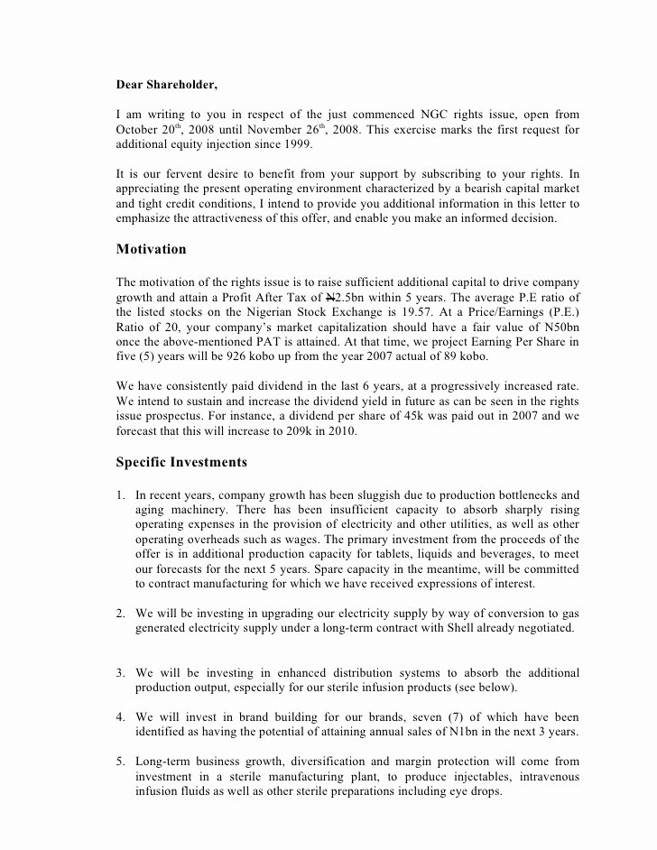 Shareholder Letter Examples Awesome Letter to Holders