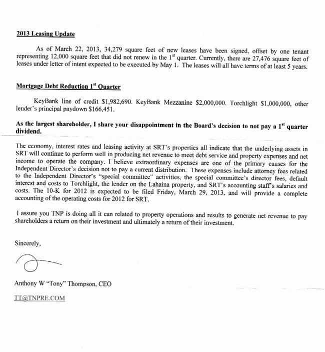 Shareholder Letter Examples Best Of tony Thompson S Letter to Tnp Strategic Retail Trust Investors
