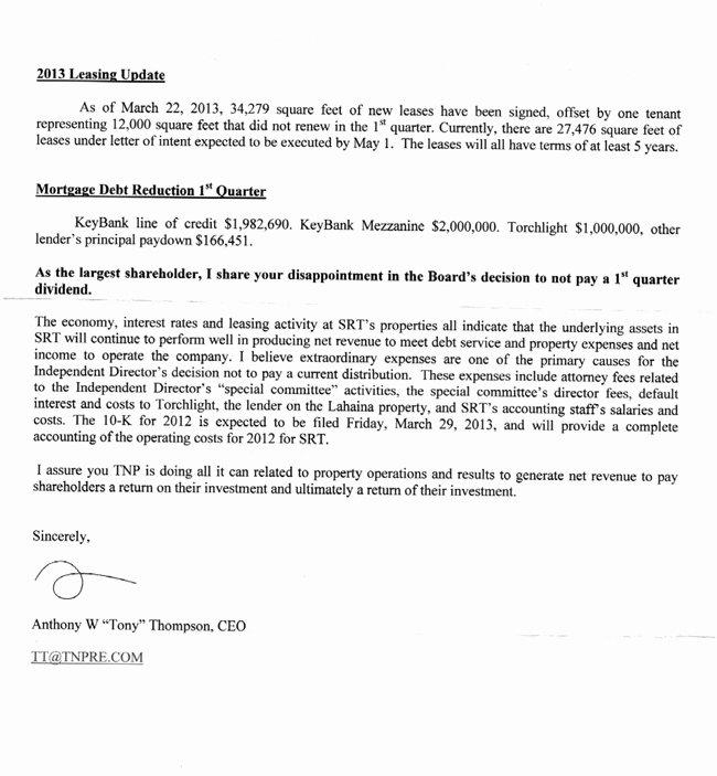 Shareholder Letter Examples Best Of tony Thompson S Letter to Tnp Strategic Retail Trust Investors