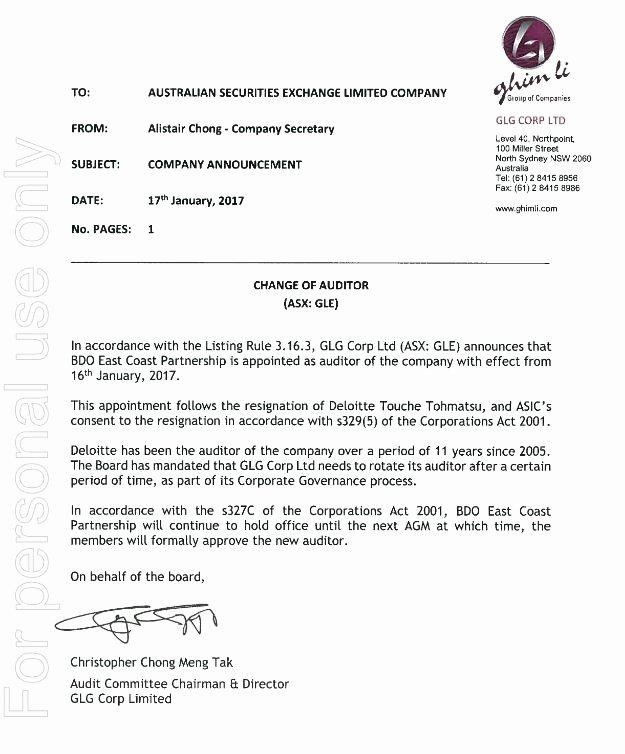 Shareholder Letter Examples Elegant Ghim Li Letter to Holders Change Of Auditor