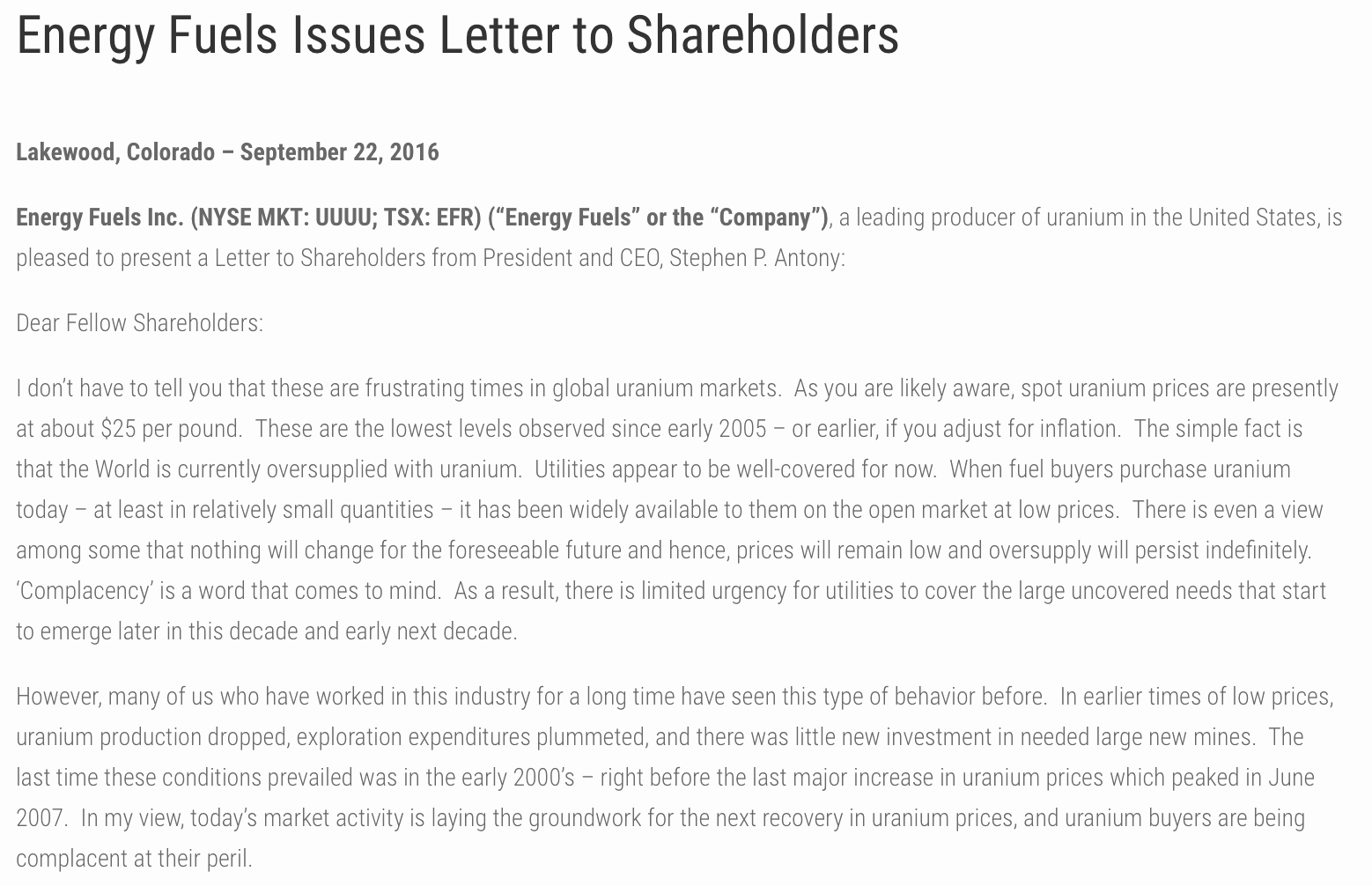 Shareholder Letter Examples Fresh Portfolio Update Adding to My Uranium Position September