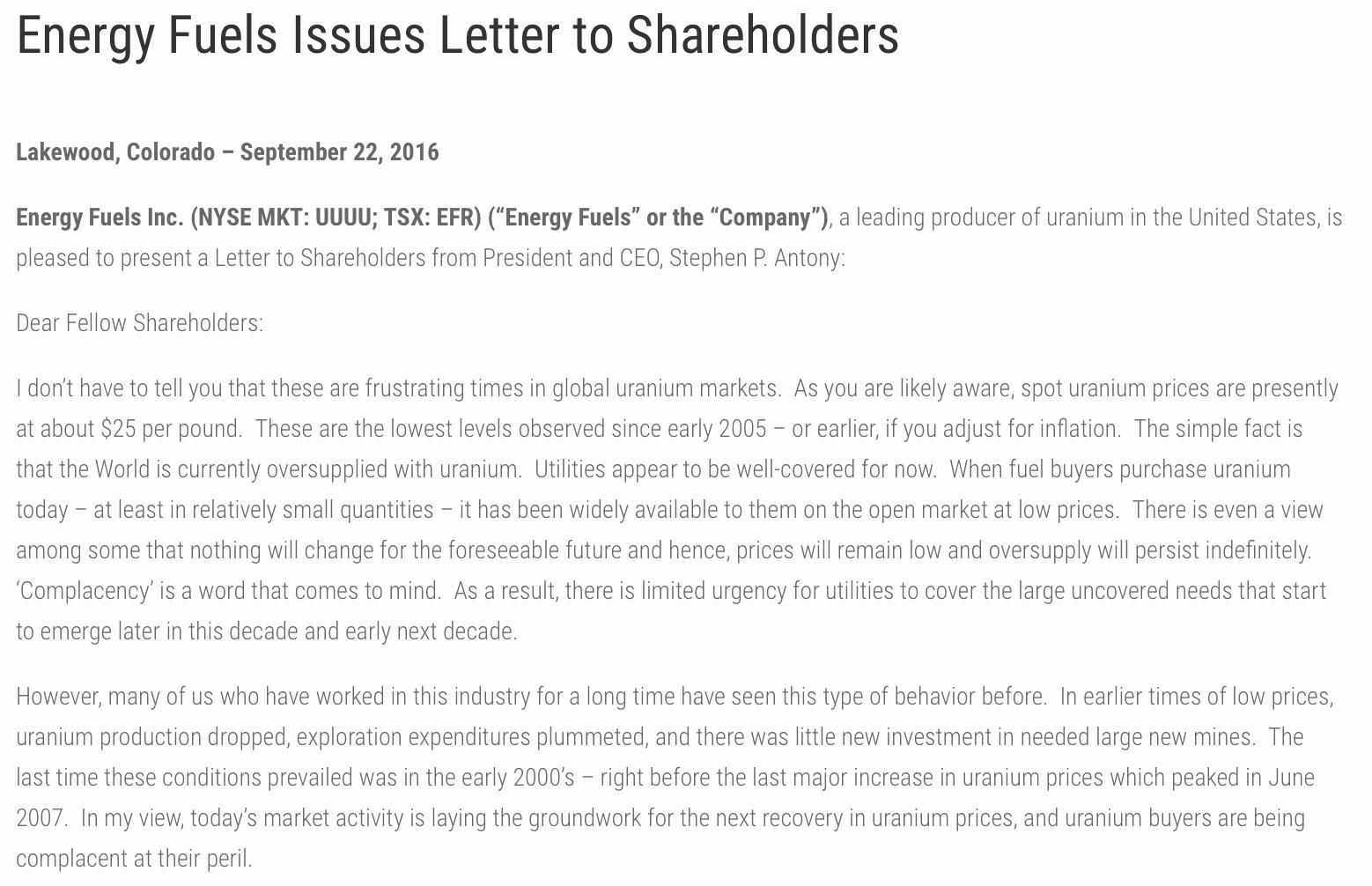 Shareholder Letter Examples Fresh Portfolio Update Adding to My Uranium Position September