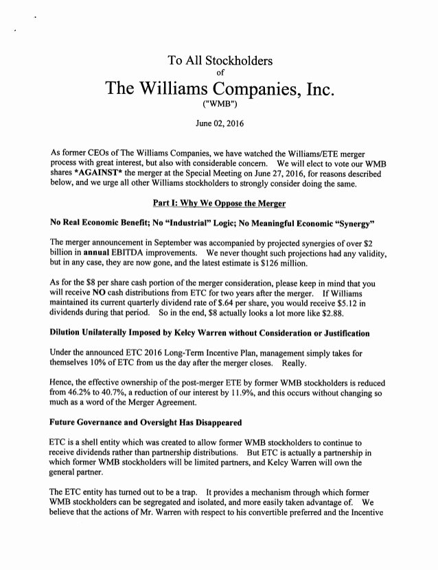 Shareholder Letter Examples Fresh Three former Ceos Of Williams Panies Send Letter to