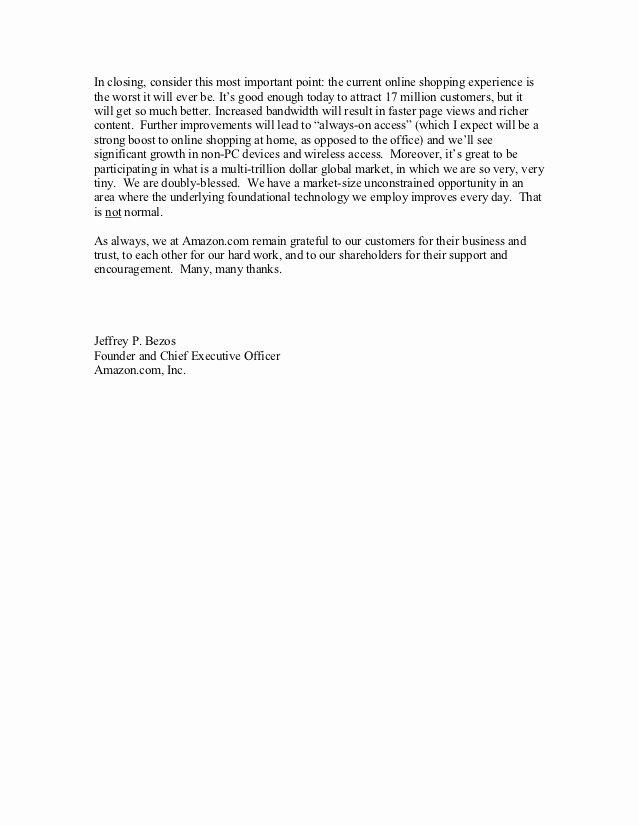 Shareholder Letter Examples Luxury Amazon Shareholder Letters 1997 2011