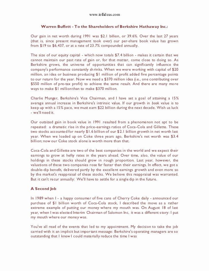Shareholder Letter Examples New 7 Warren Buffett S 1991 Letter to Holders