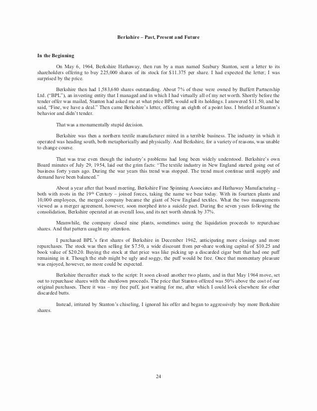 Shareholder Letter Examples New Berkshire Hathaway Annual Holder Letter 2014