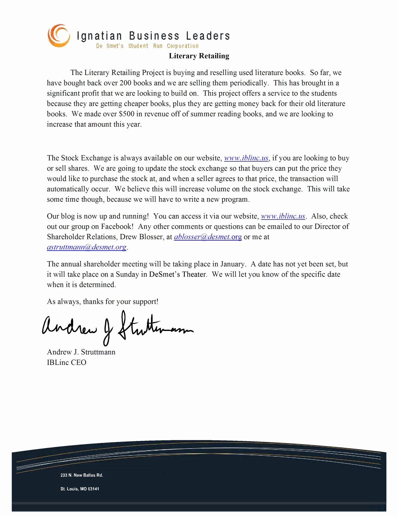 Shareholder Letter Examples New Ibl Inc
