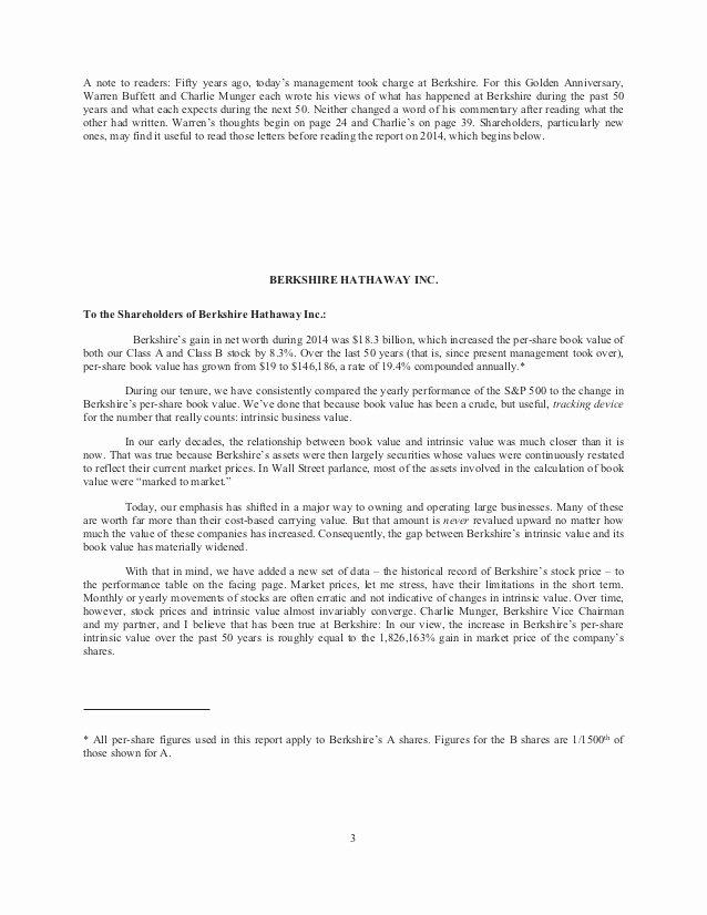 Shareholder Letter Examples Unique Berkshire Hathaway Annual Holder Letter 2014