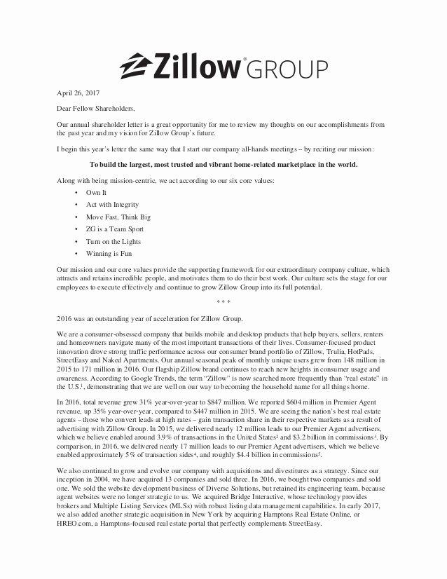 Shareholder Letter Template Awesome Zillow Group Holder Letter 2017