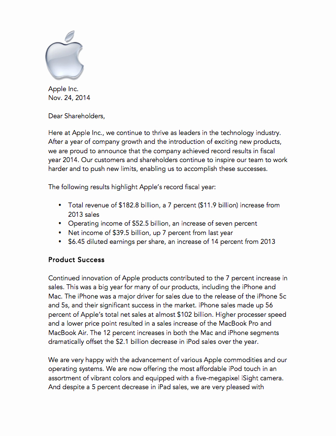 Shareholder Letter Template Beautiful Apple Holder Letter – Kiersten Olsen