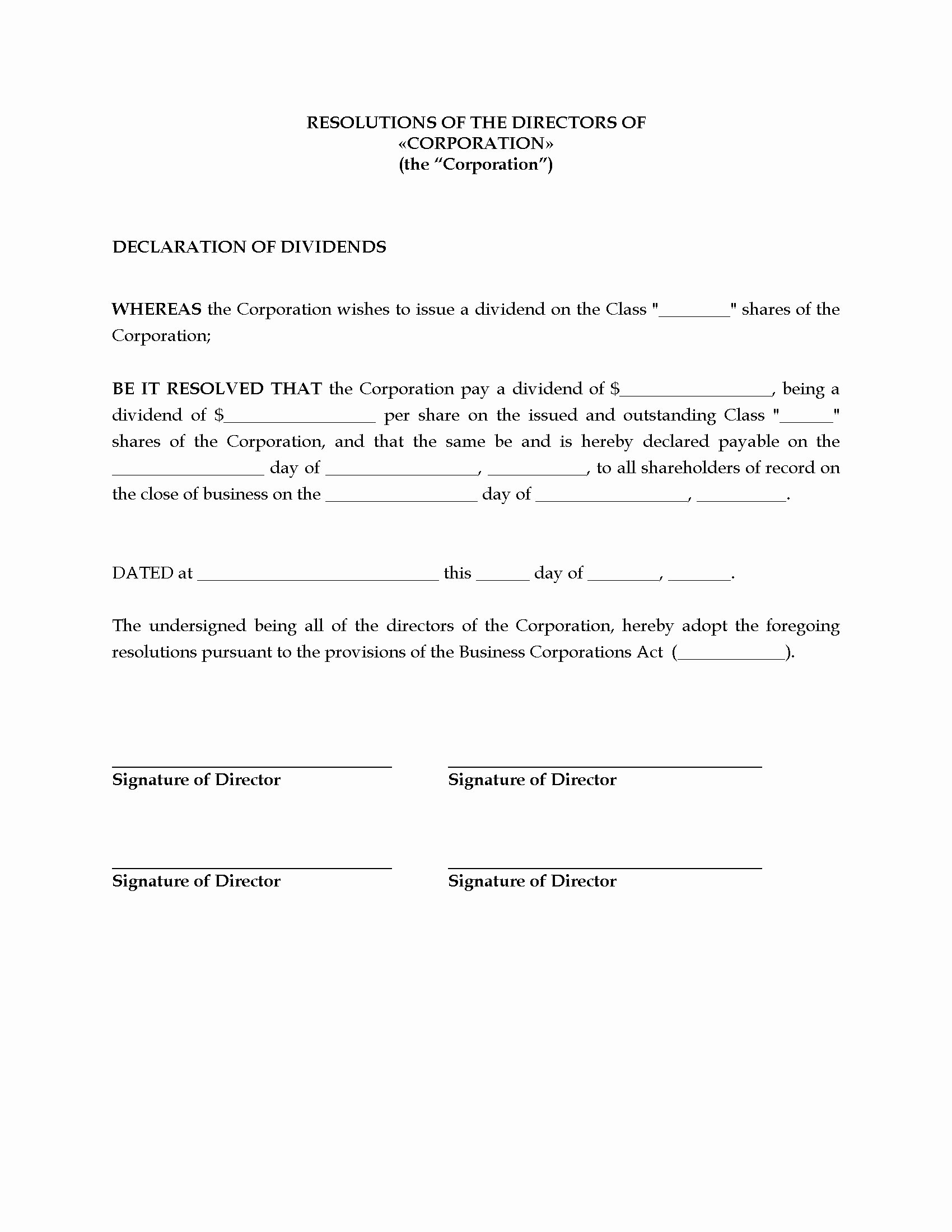 Shareholder Letter Template Beautiful Canada Directors Resolution to Declare Dividends
